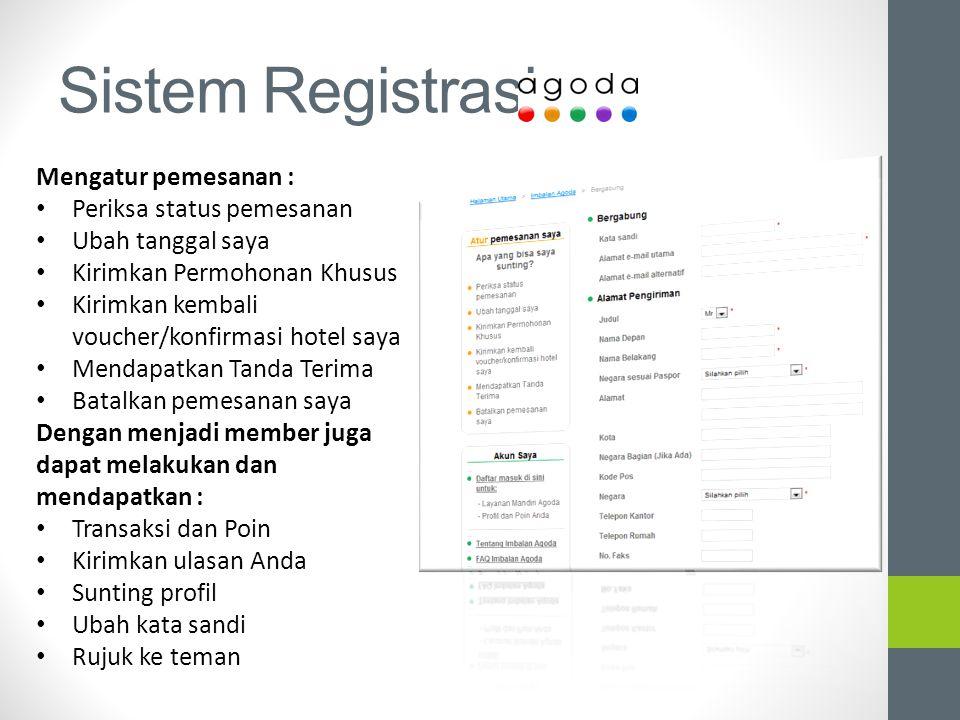 Sistem Registrasi Mengatur pemesanan : Periksa status pemesanan