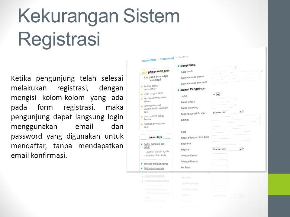 Kekurangan Sistem Registrasi