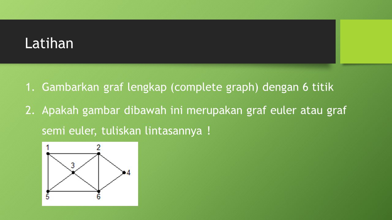 Latihan Gambarkan graf lengkap (complete graph) dengan 6 titik