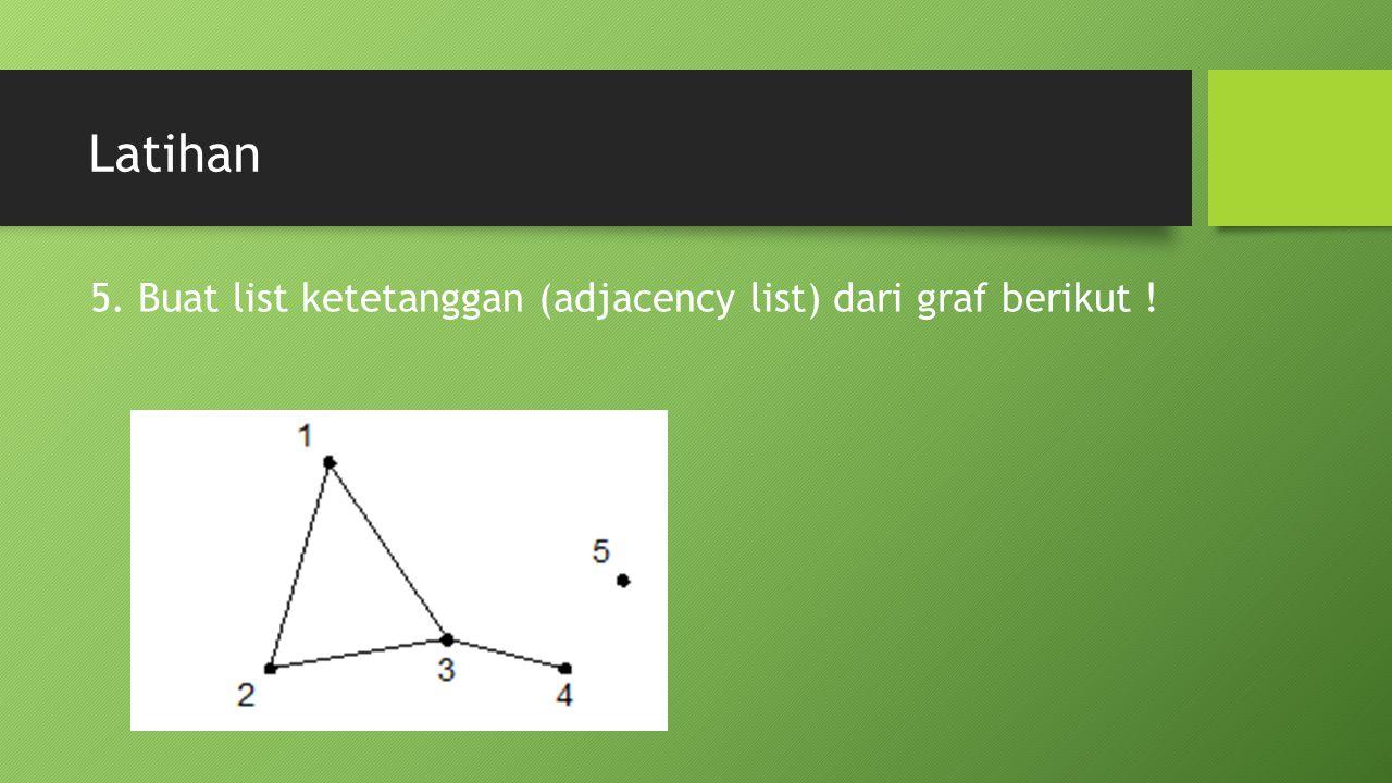 Latihan 5. Buat list ketetanggan (adjacency list) dari graf berikut !