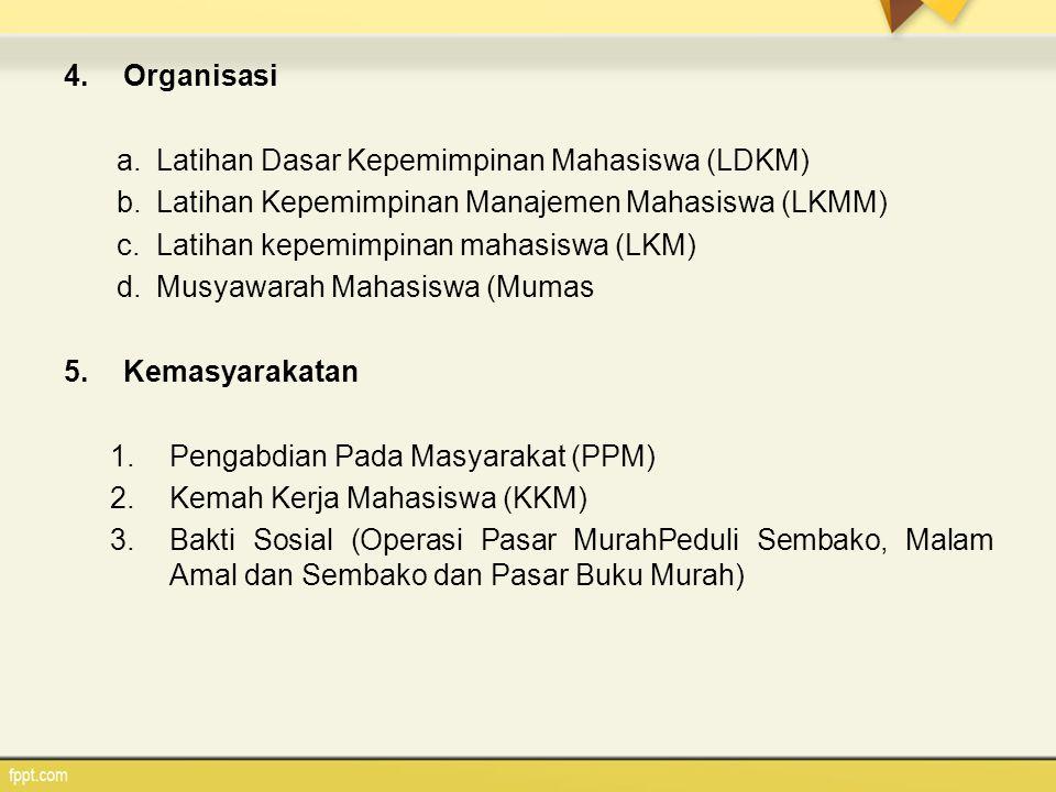 Organisasi Latihan Dasar Kepemimpinan Mahasiswa (LDKM) Latihan Kepemimpinan Manajemen Mahasiswa (LKMM)