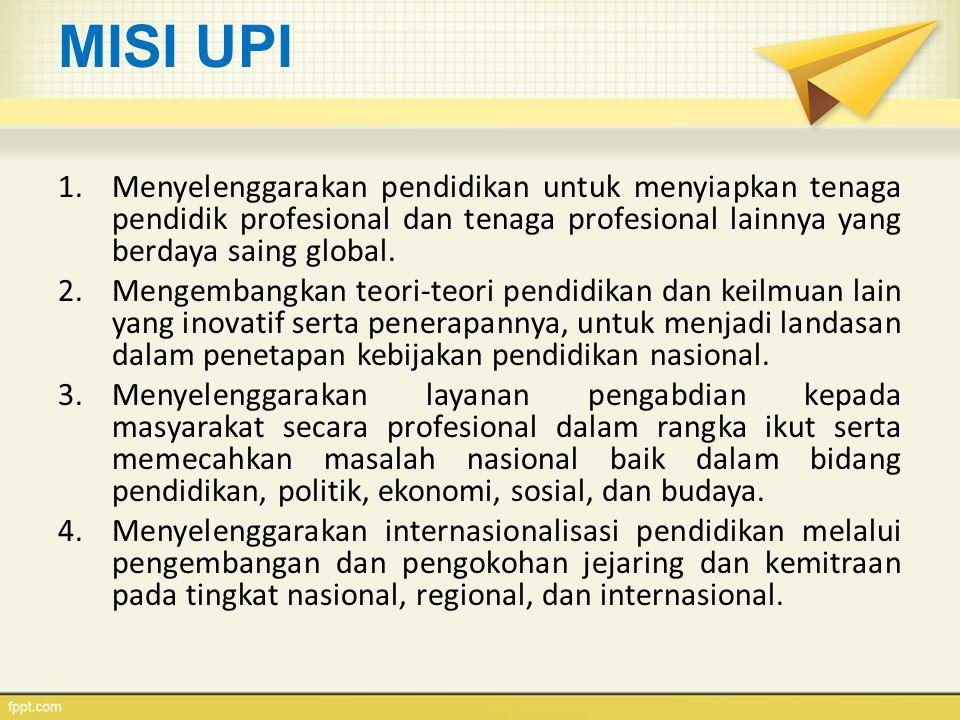 MISI UPI Menyelenggarakan pendidikan untuk menyiapkan tenaga pendidik profesional dan tenaga profesional lainnya yang berdaya saing global.