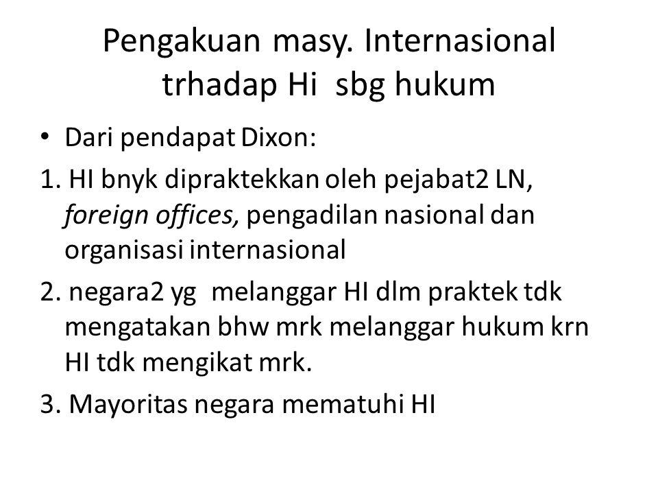 Pengakuan masy. Internasional trhadap Hi sbg hukum