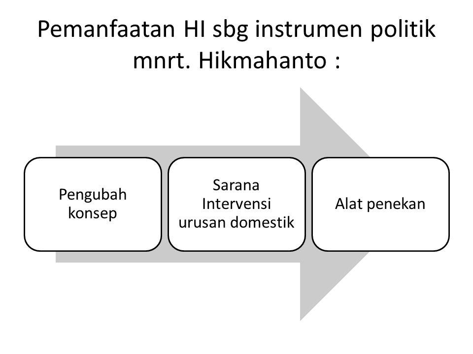 Pemanfaatan HI sbg instrumen politik mnrt. Hikmahanto :