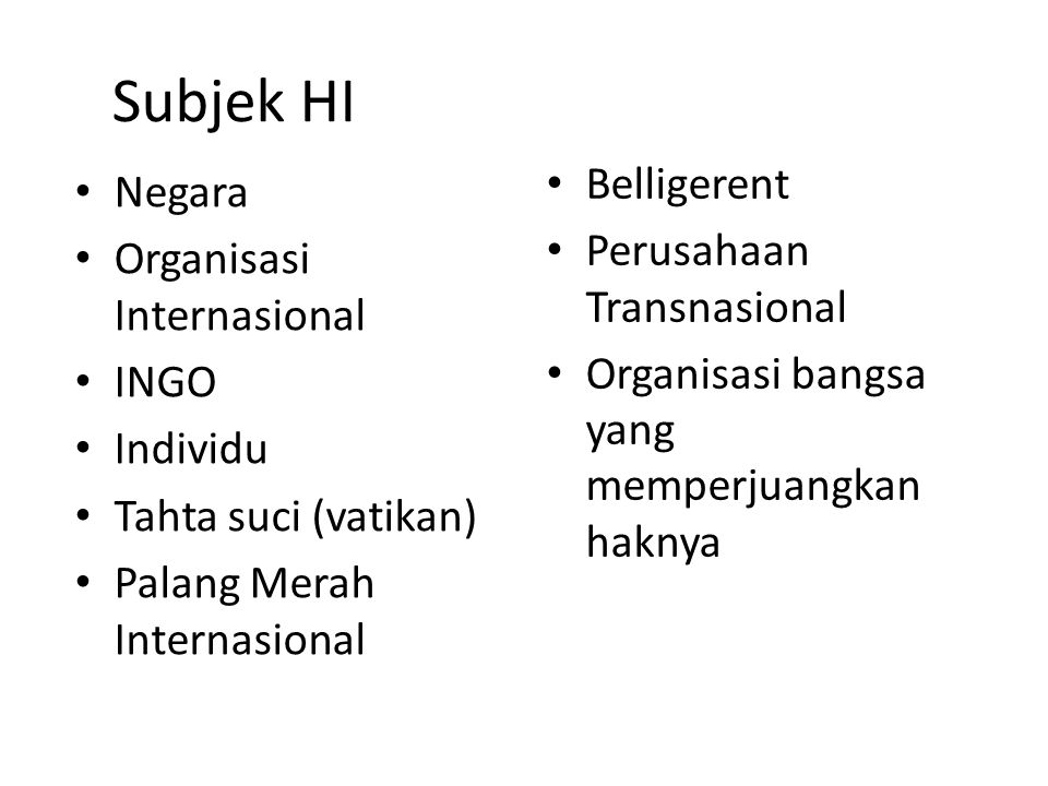 Subjek HI Belligerent Negara Perusahaan Transnasional