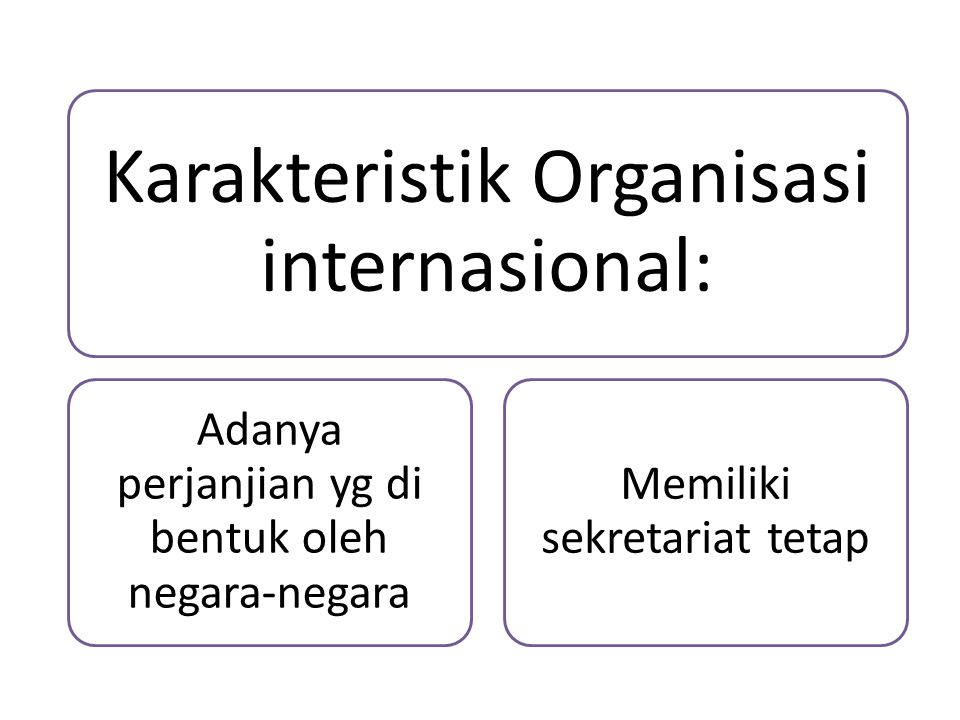 Karakteristik Organisasi internasional: