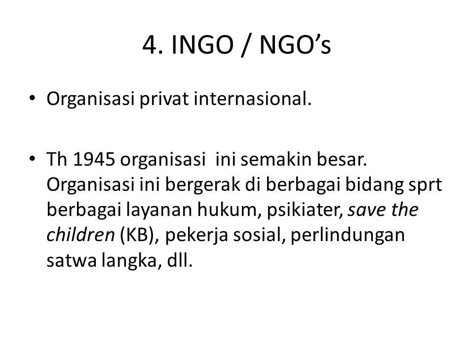 4. INGO / NGO's Organisasi privat internasional.