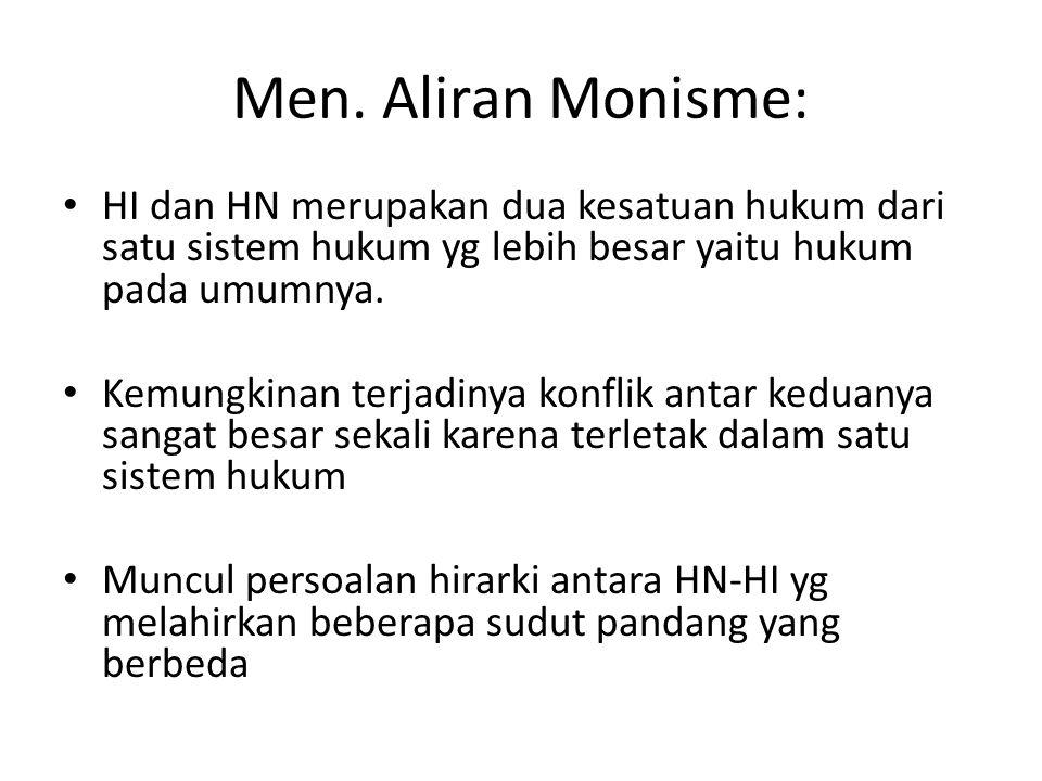 Men. Aliran Monisme: HI dan HN merupakan dua kesatuan hukum dari satu sistem hukum yg lebih besar yaitu hukum pada umumnya.
