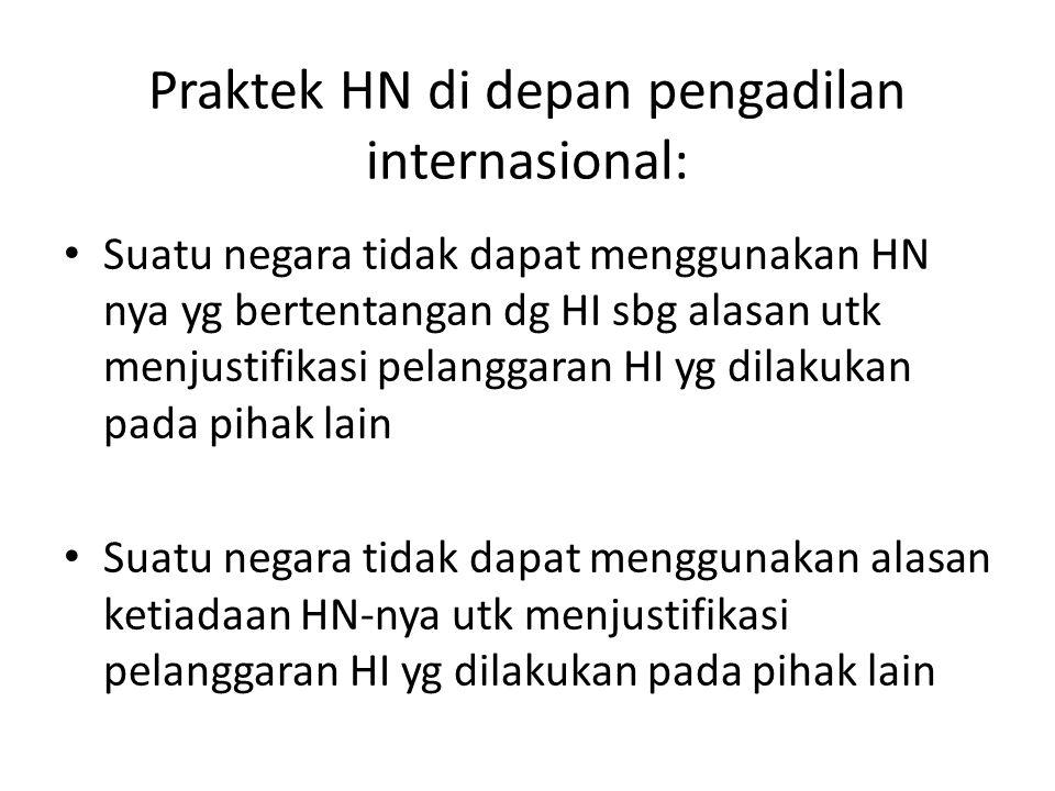 Praktek HN di depan pengadilan internasional: