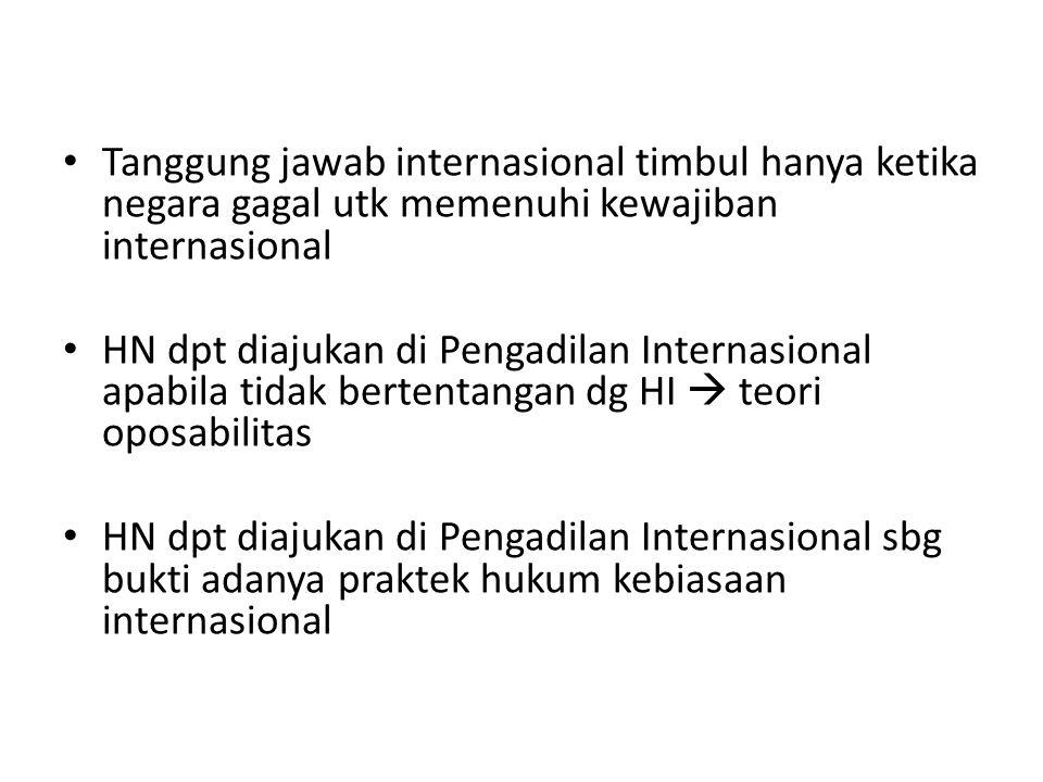 Tanggung jawab internasional timbul hanya ketika negara gagal utk memenuhi kewajiban internasional