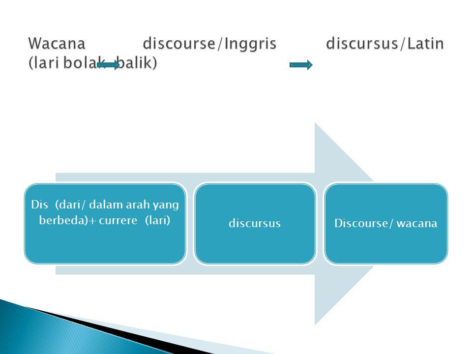 Wacana discourse/Inggris discursus/Latin (lari bolak-balik)