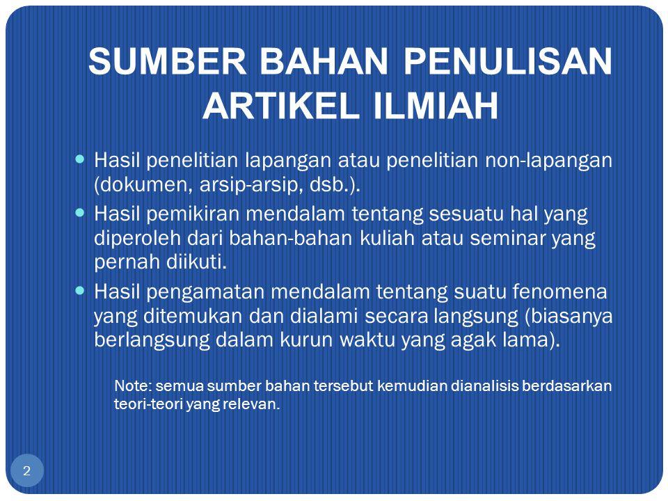 SUMBER BAHAN PENULISAN ARTIKEL ILMIAH