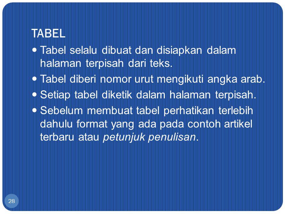 TABEL Tabel selalu dibuat dan disiapkan dalam halaman terpisah dari teks. Tabel diberi nomor urut mengikuti angka arab.