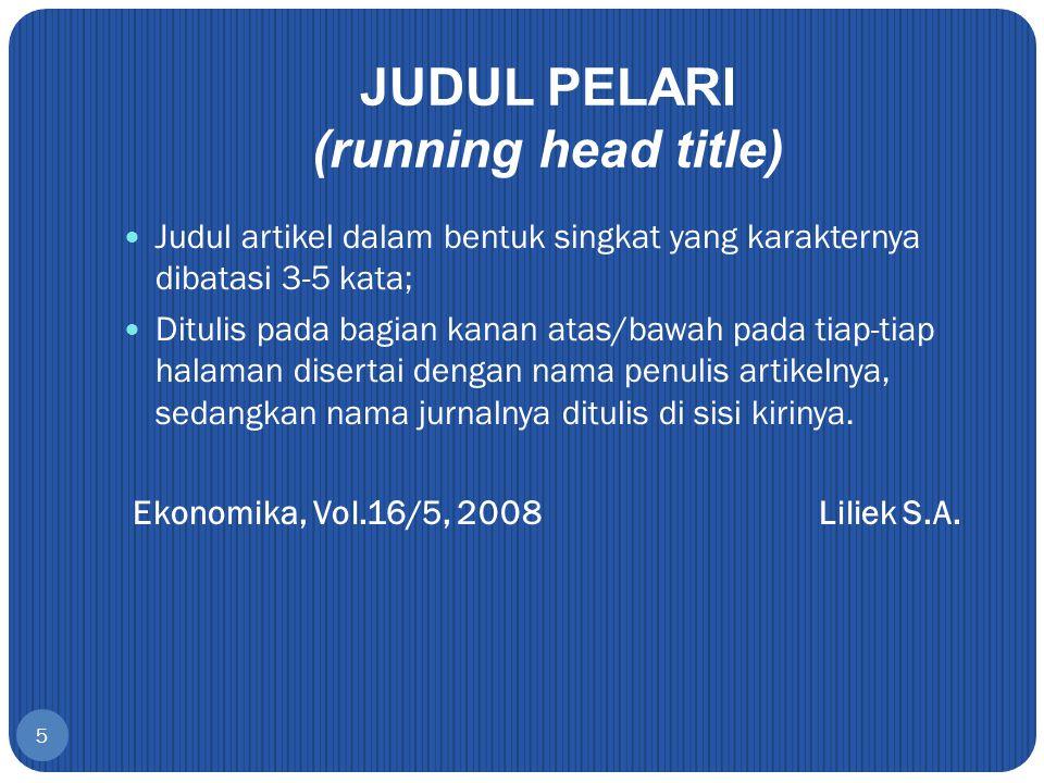 JUDUL PELARI (running head title)