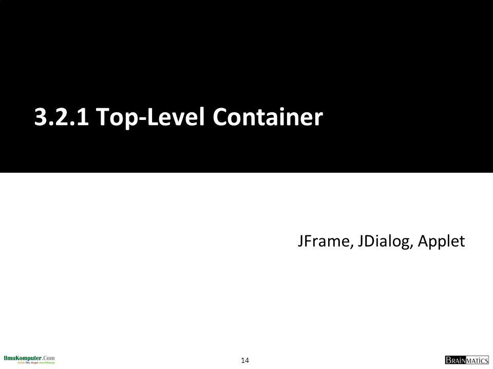3.2.1 Top-Level Container JFrame, JDialog, Applet