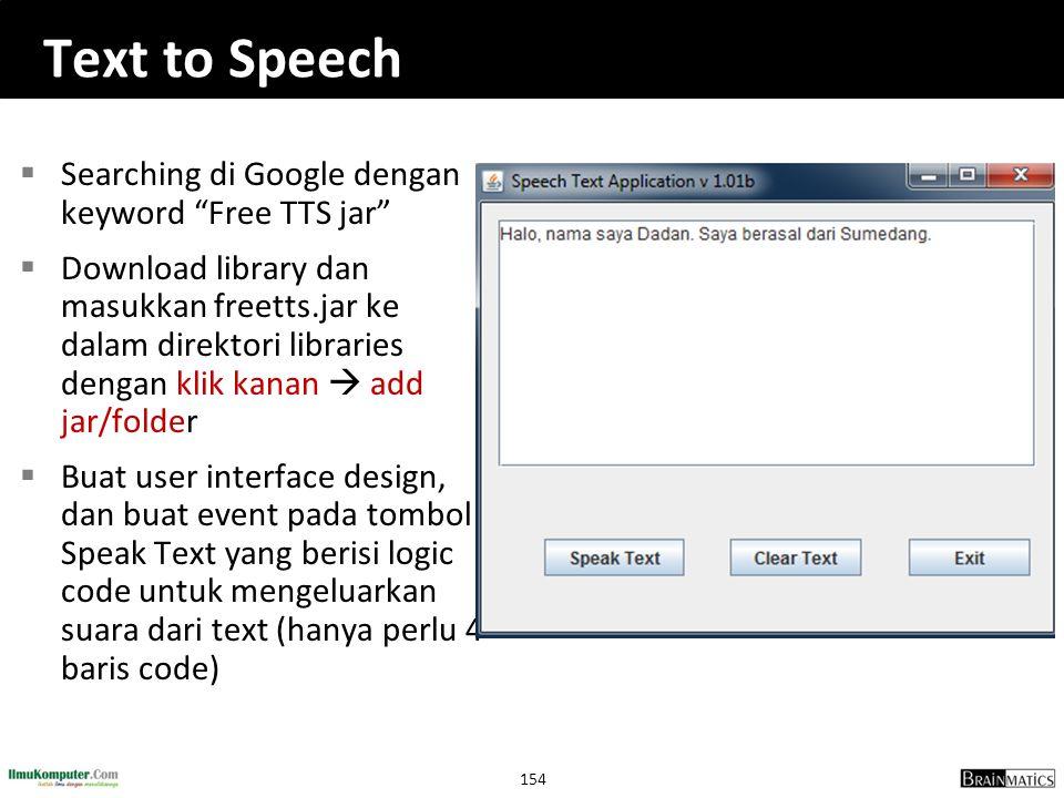 Text to Speech Searching di Google dengan keyword Free TTS jar
