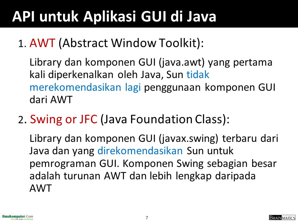 API untuk Aplikasi GUI di Java