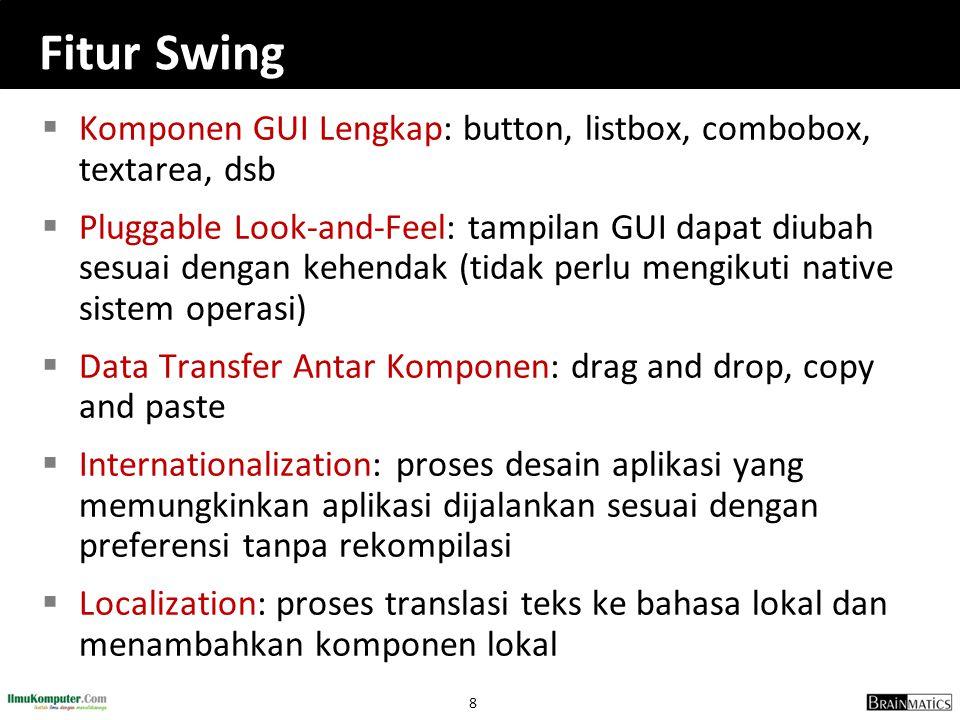 Fitur Swing Komponen GUI Lengkap: button, listbox, combobox, textarea, dsb.