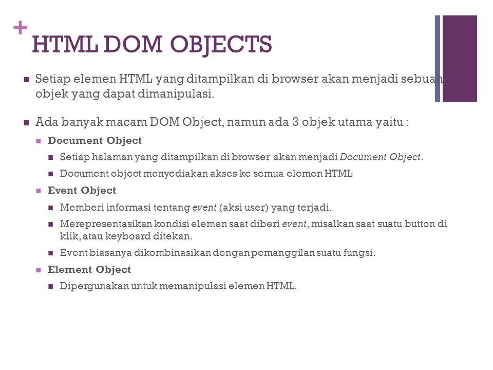 HTML DOM OBJECTS Setiap elemen HTML yang ditampilkan di browser akan menjadi sebuah objek yang dapat dimanipulasi.