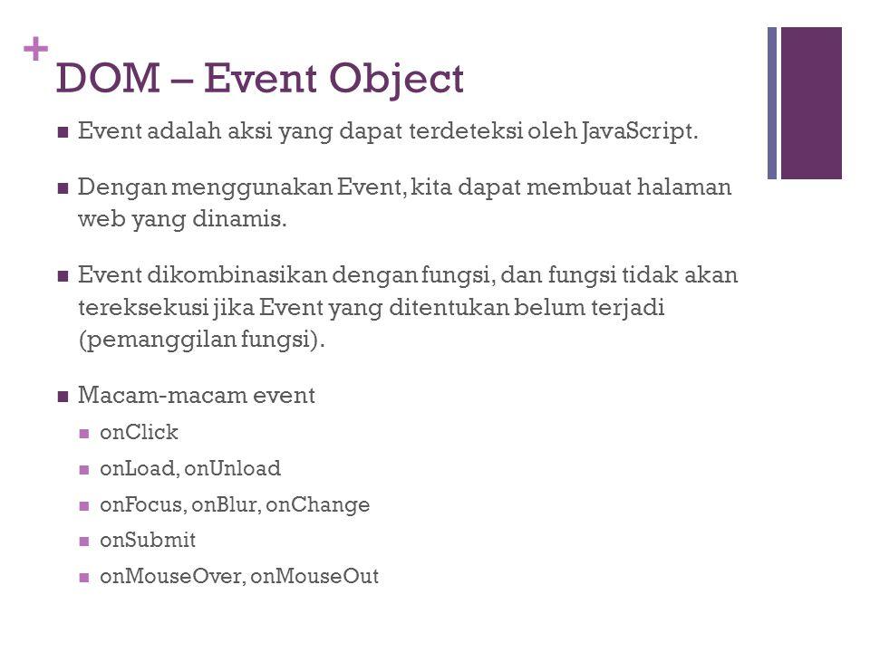 DOM – Event Object Event adalah aksi yang dapat terdeteksi oleh JavaScript. Dengan menggunakan Event, kita dapat membuat halaman web yang dinamis.