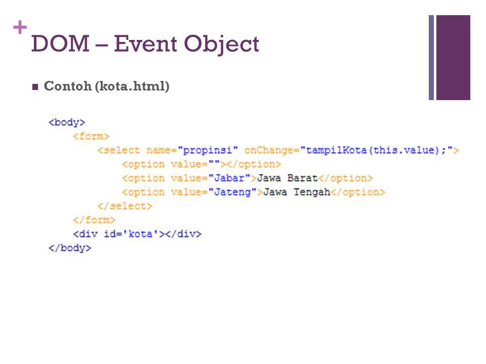 DOM – Event Object Contoh (kota.html)