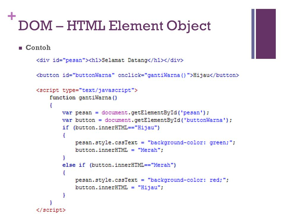 DOM – HTML Element Object