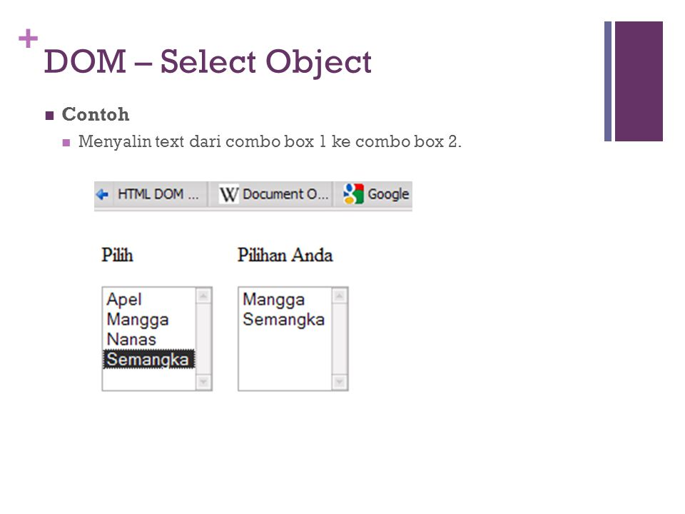 DOM – Select Object Contoh