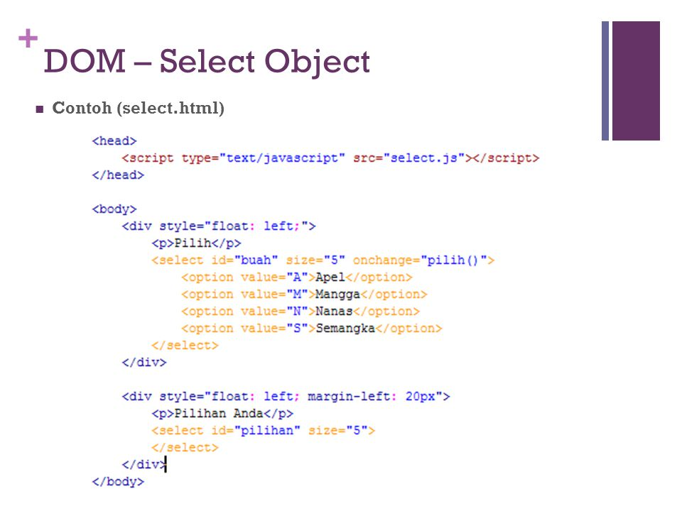 DOM – Select Object Contoh (select.html)