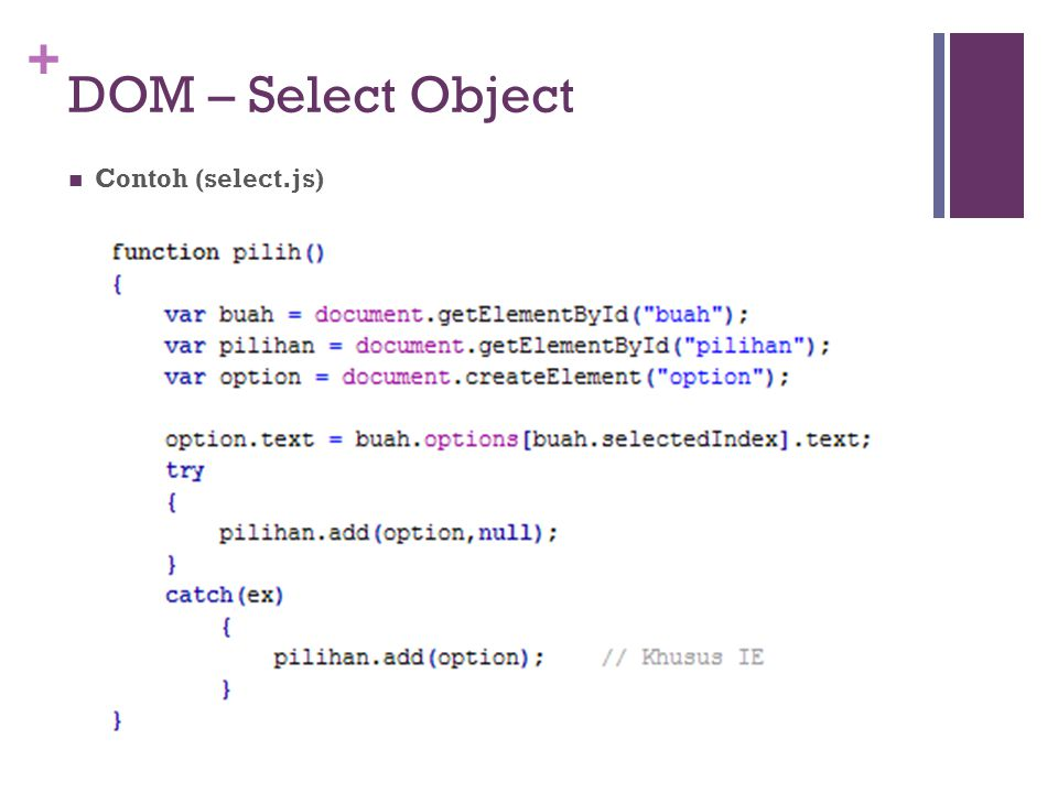 DOM – Select Object Contoh (select.js)