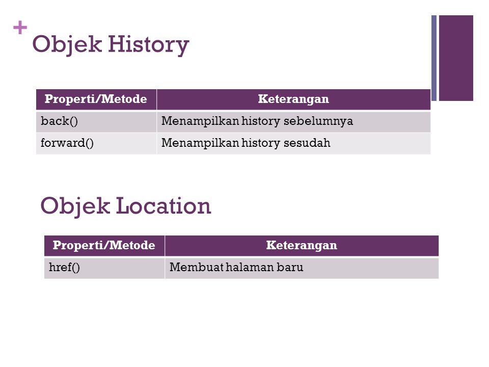 Objek History Objek Location Properti/Metode Keterangan back()