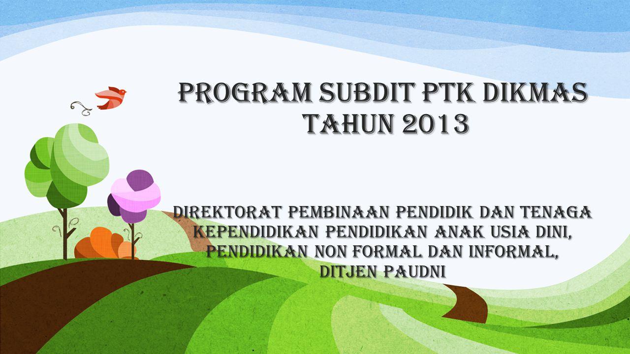 Program Subdit PTK Dikmas Tahun 2013 DirektoraT Pembinaan Pendidik dan Tenaga Kependidikan Pendidikan Anak Usia Dini, Pendidikan Non Formal dan Informal, Ditjen PAUDNI