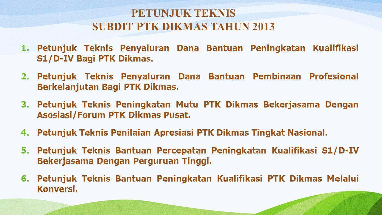 SUBDIT PTK DIKMAS TAHUN 2013