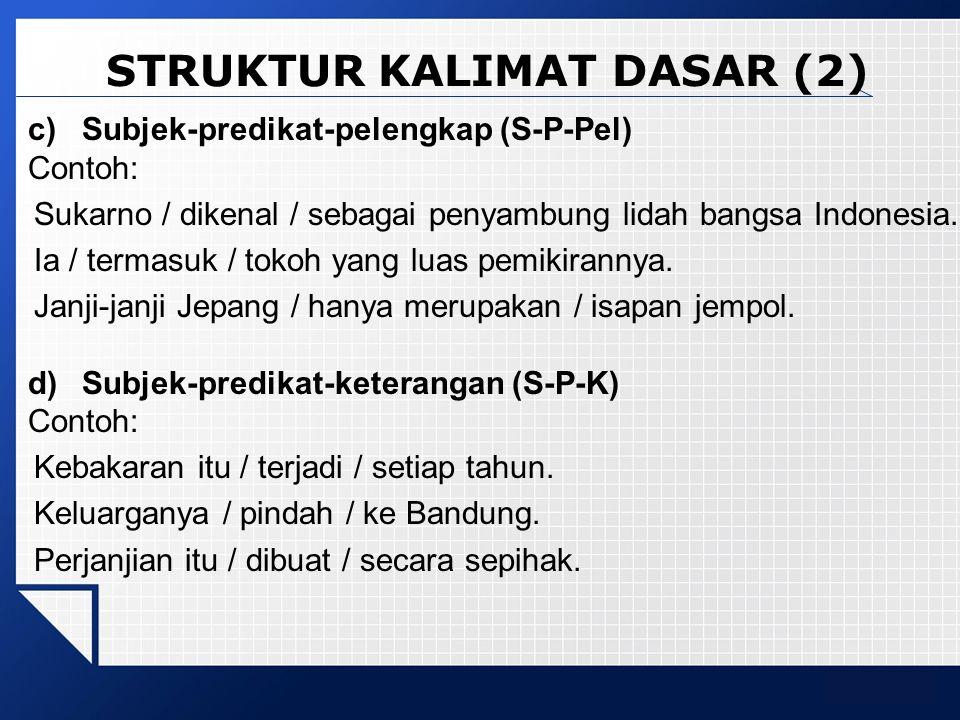 STRUKTUR KALIMAT DASAR (2)