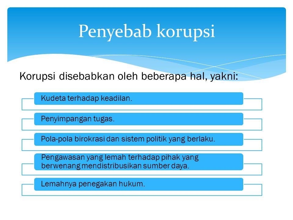 Penyebab korupsi Korupsi disebabkan oleh beberapa hal, yakni: