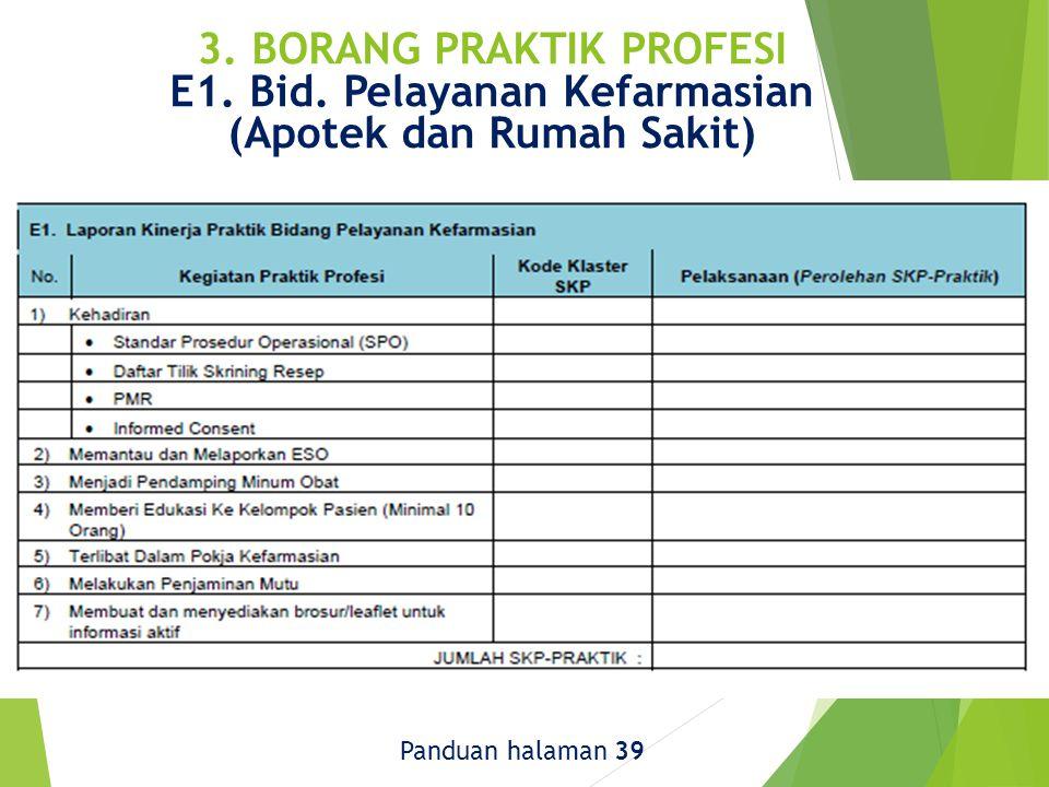 3. BORANG PRAKTIK PROFESI E1. Bid. Pelayanan Kefarmasian