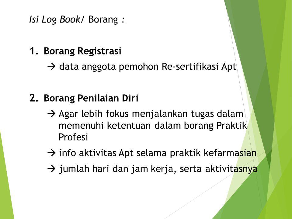 Isi Log Book/ Borang : Borang Registrasi.  data anggota pemohon Re-sertifikasi Apt. Borang Penilaian Diri.