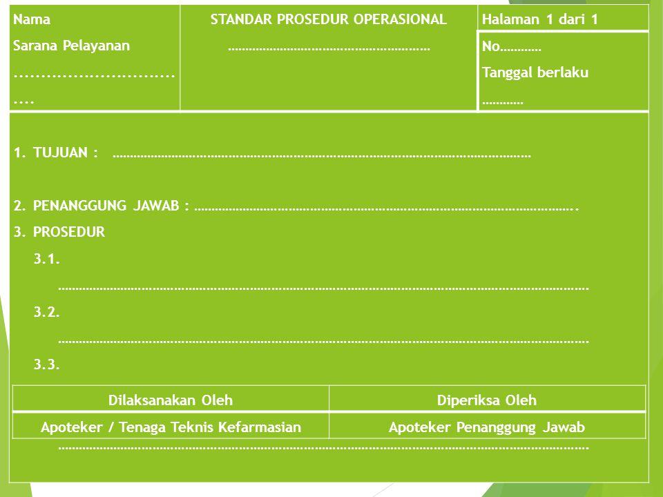 STANDAR PROSEDUR OPERASIONAL ………………………………………………… Halaman 1 dari 1