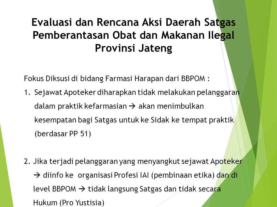 Evaluasi dan Rencana Aksi Daerah Satgas Pemberantasan Obat dan Makanan Ilegal Provinsi Jateng