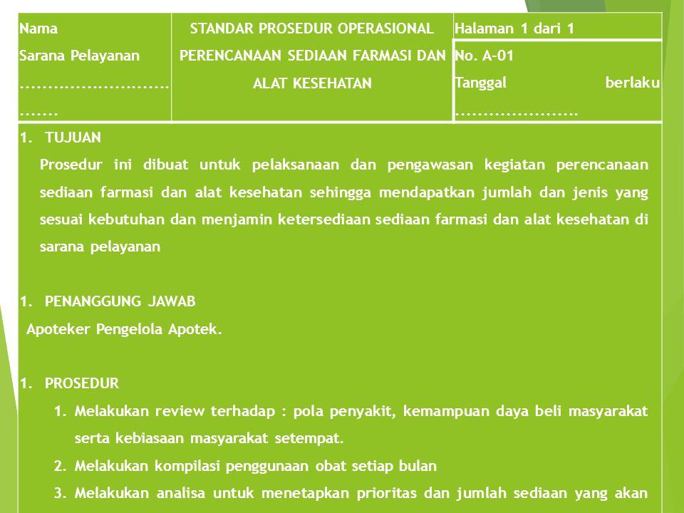 STANDAR PROSEDUR OPERASIONAL