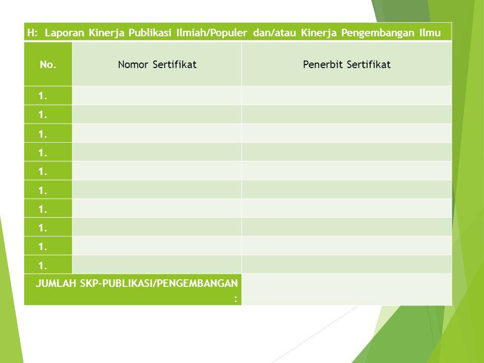 H: Laporan Kinerja Publikasi Ilmiah/Populer dan/atau Kinerja Pengembangan Ilmu