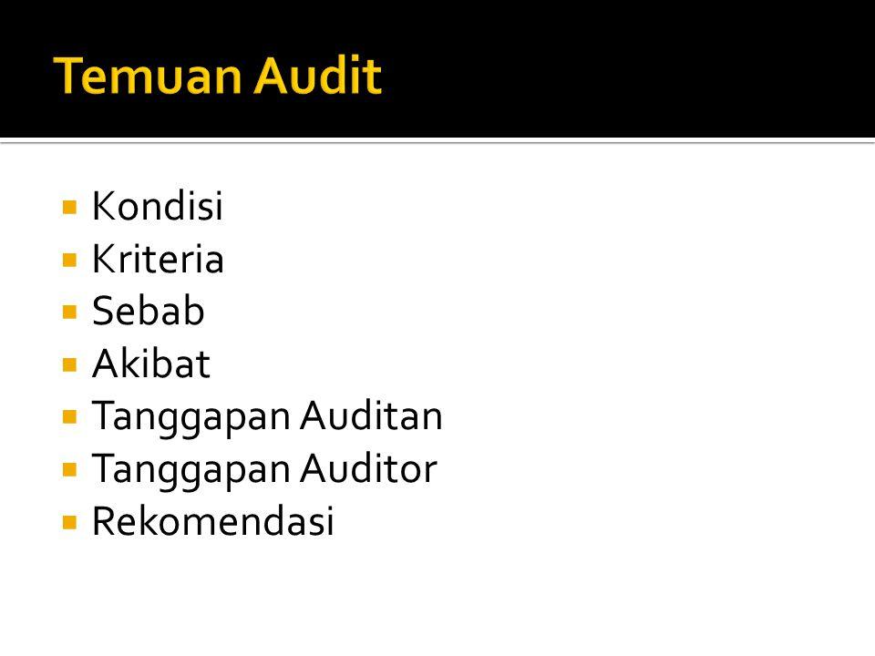 Temuan Audit Kondisi Kriteria Sebab Akibat Tanggapan Auditan