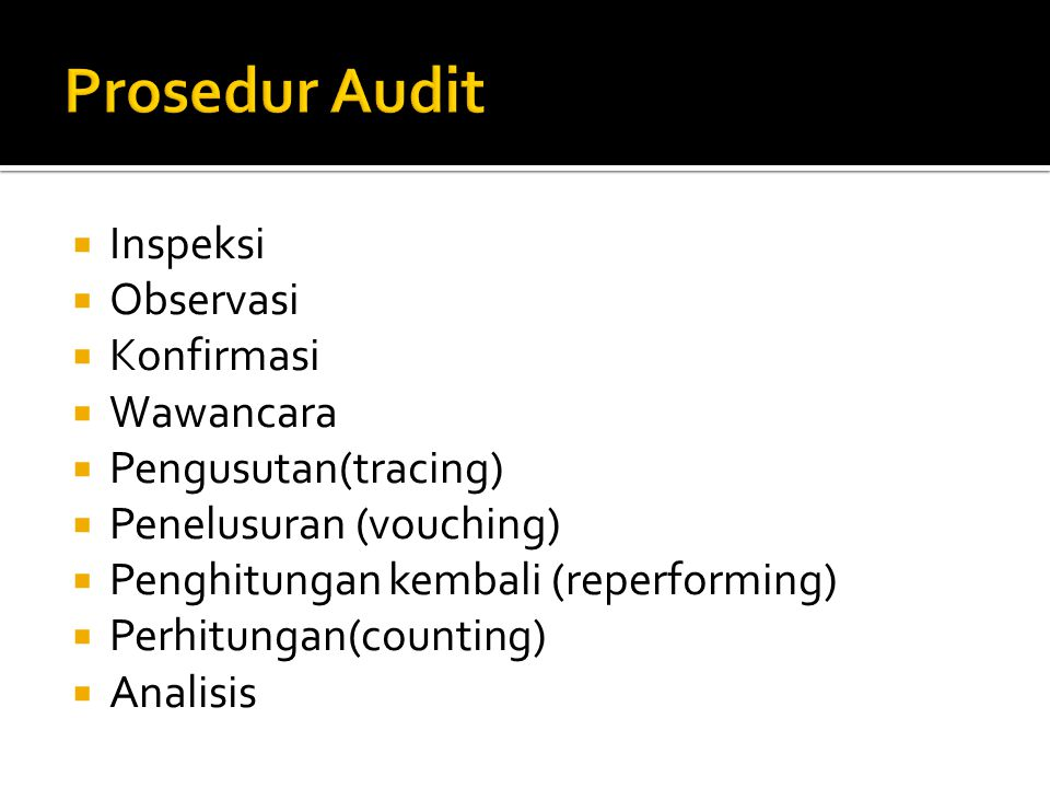Prosedur Audit Inspeksi Observasi Konfirmasi Wawancara