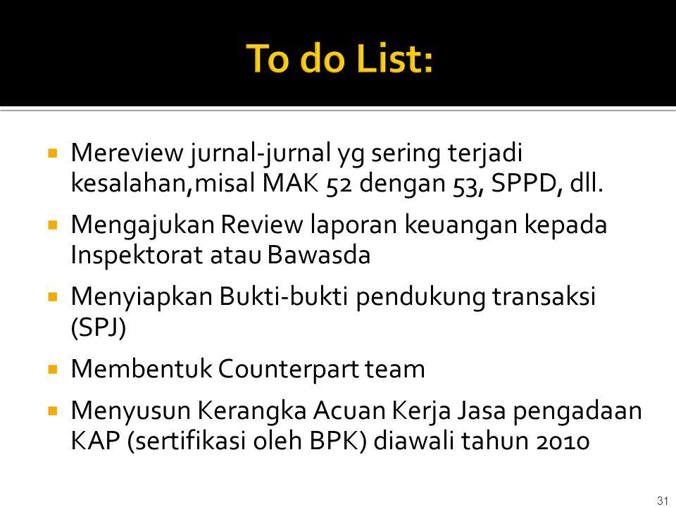 To do List: Mereview jurnal-jurnal yg sering terjadi kesalahan,misal MAK 52 dengan 53, SPPD, dll.