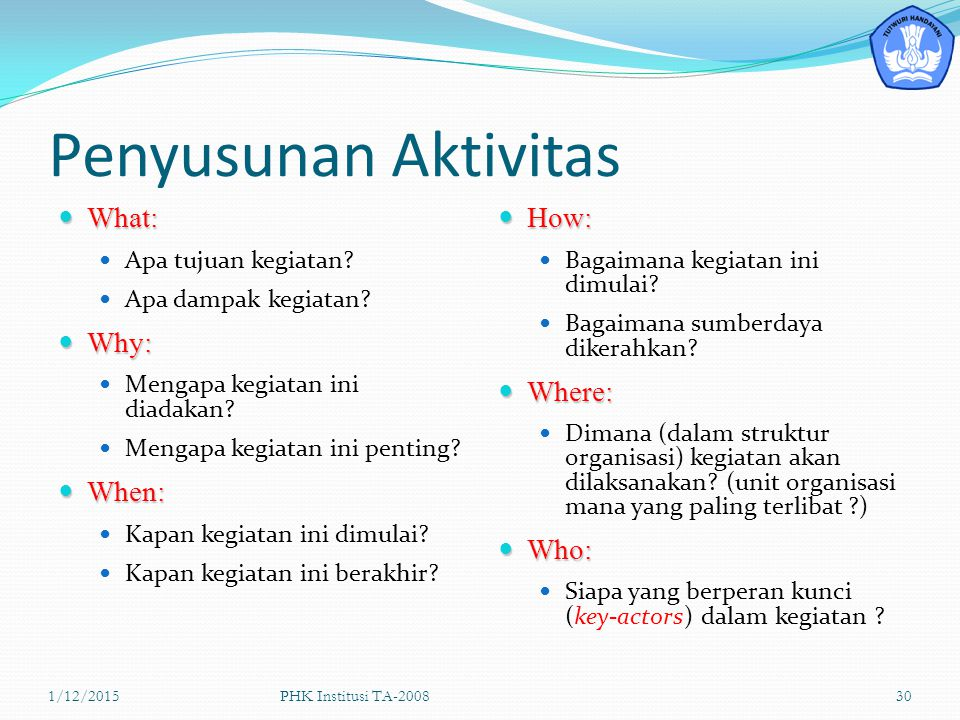 Penyusunan Aktivitas What: Why: When: How: Where: Who: