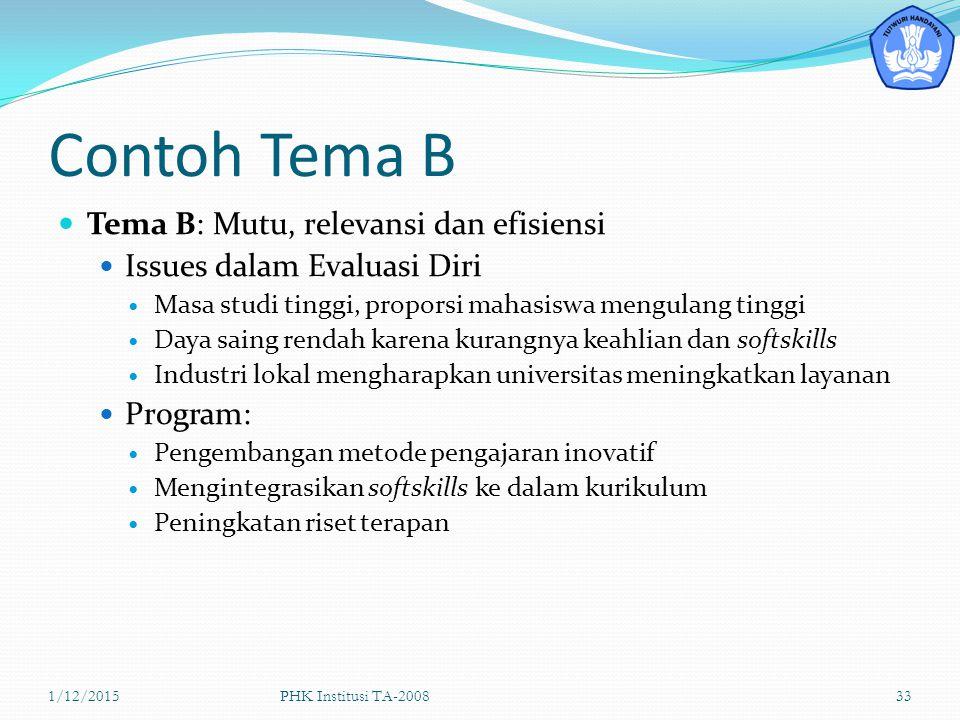 Contoh Tema B Tema B: Mutu, relevansi dan efisiensi