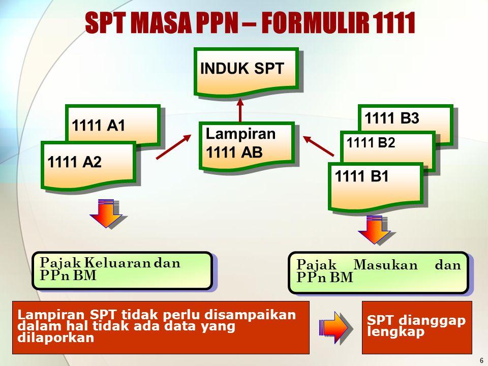 SPT MASA PPN – FORMULIR 1111 INDUK SPT 1111 B3 1111 A1 Lampiran