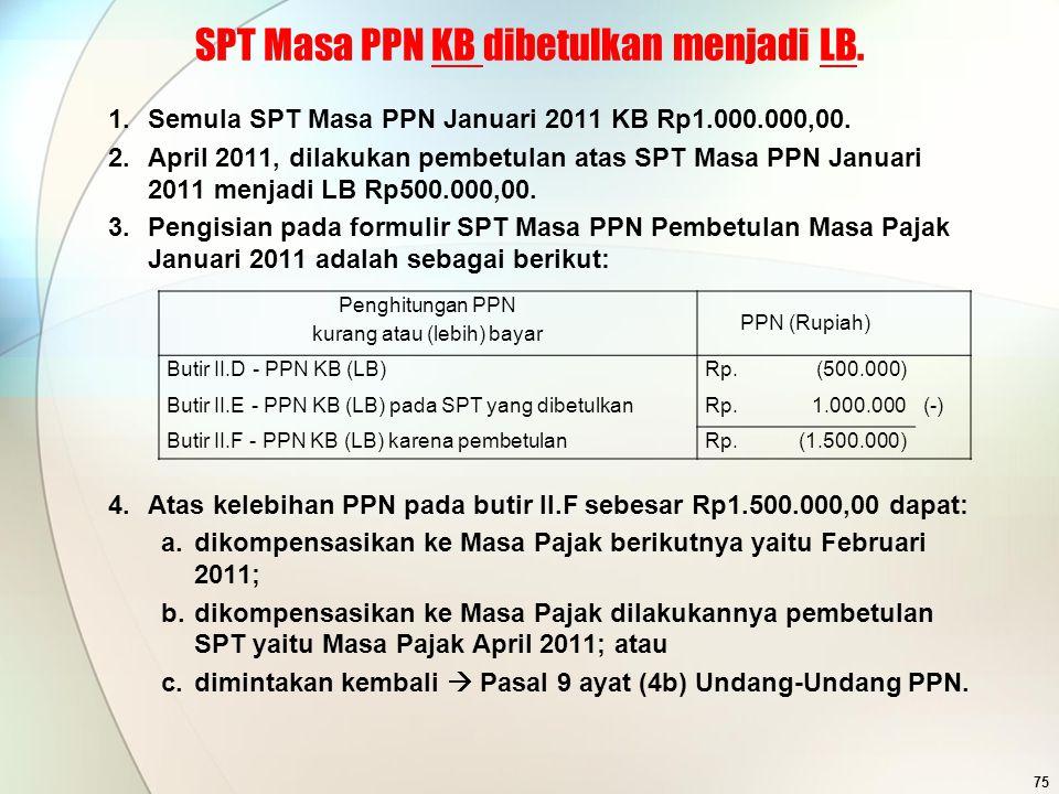 SPT Masa PPN KB dibetulkan menjadi LB.