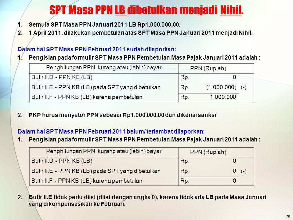 SPT Masa PPN LB dibetulkan menjadi Nihil.