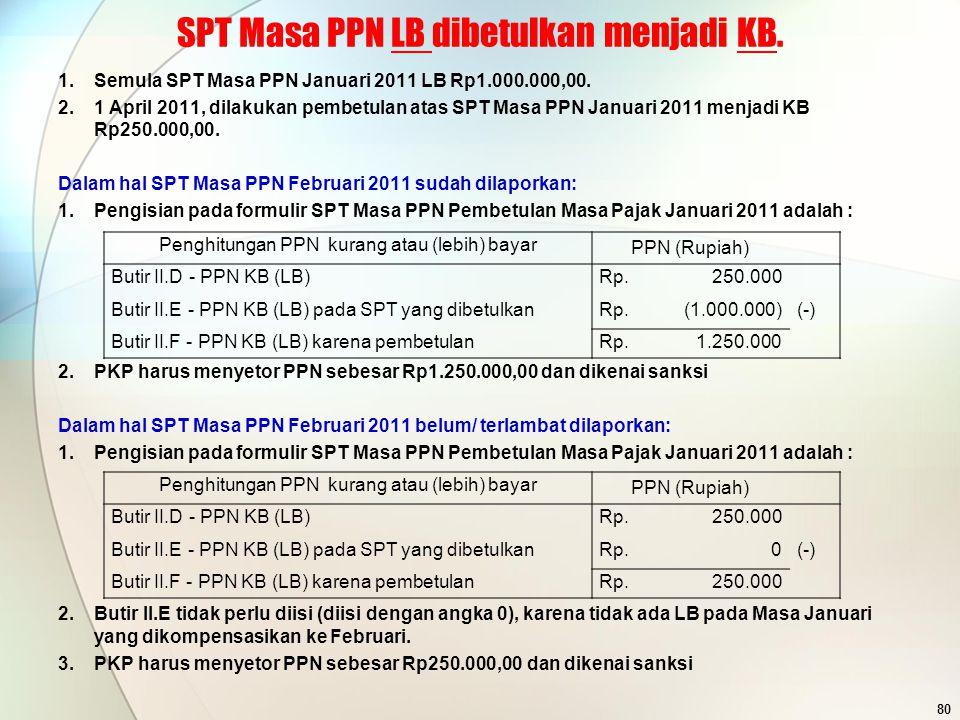 SPT Masa PPN LB dibetulkan menjadi KB.