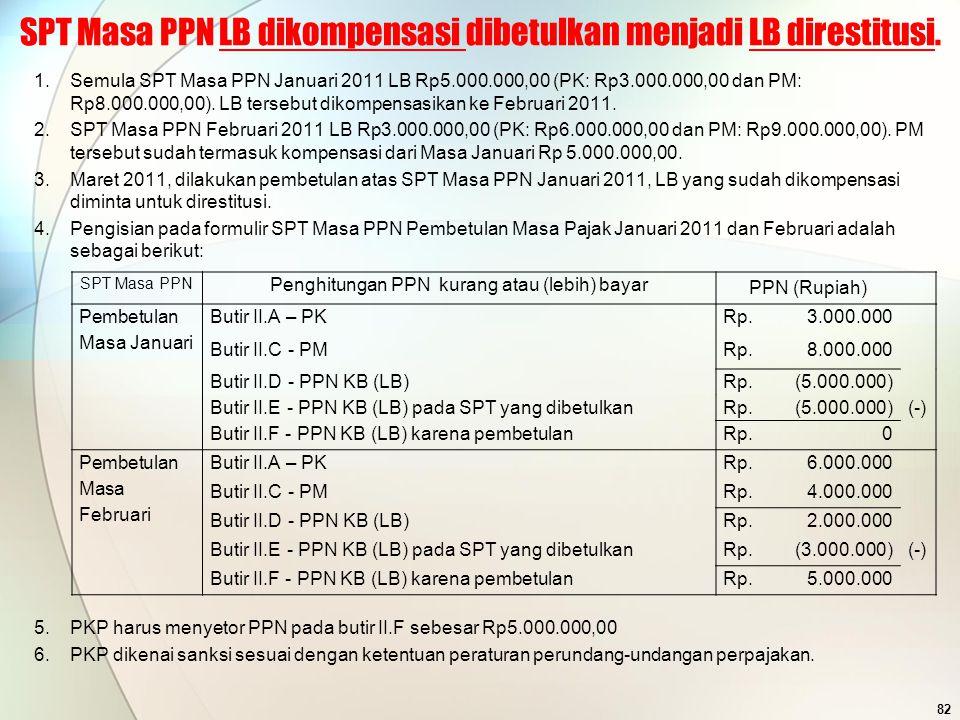 SPT Masa PPN LB dikompensasi dibetulkan menjadi LB direstitusi.